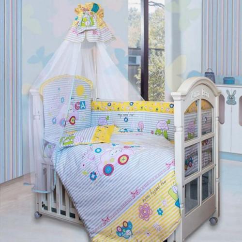 Комплект в кроватку Cool Car 7 предметов голубой