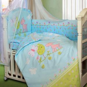 Комплект в кроватку Little Friend 7 предметов голубой
