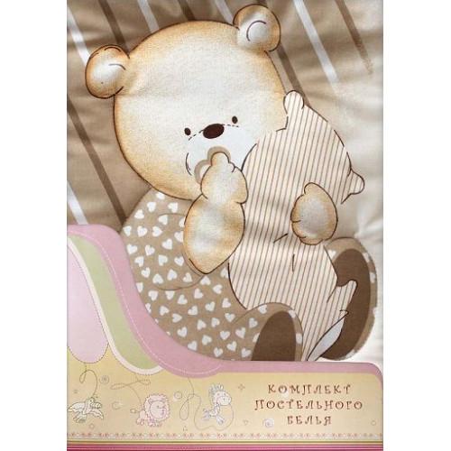 Постельное белье для детей Мишутка 3 предмета бежевый