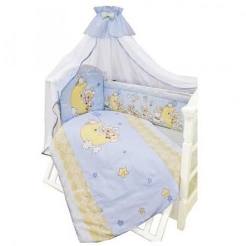 Комплект в кроватку Овечки на луне 7 предметов голубой