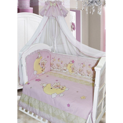 Комплект в кроватку Овечки на луне 7 предметов розовый