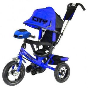 Велосипед CITY c с муз. панелью кол.12 и 10 синий